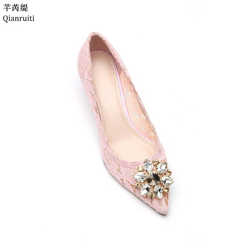 Qianruiti Pink Nude Cut-Outs Lace Stiletto Heels Women Shoes Studded Crystal High Heels Shoes Pointed Toe Slip-On Women Pumps qianruiti royal blue stiletto heels women pumps sexy pointed toe women shoes studded crystal high heels bridal wedding shoes
