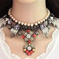 2016 Nuevo Collar De Flores de Joyería de La Vendimia Collar De Alimentación Con Gran Pendiente Chunky Cuentas de Collar de Cadena Para Las Mujeres