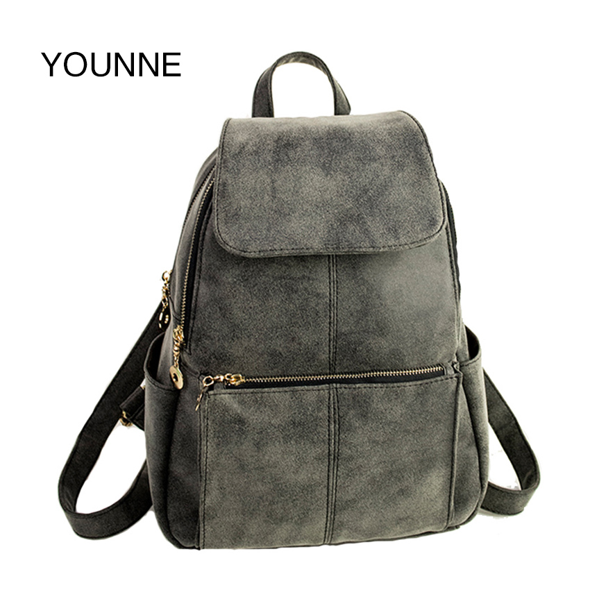YOUNNE Women Velour Backpack Female Fashion Solid Color Shoulder Bag For Young Girl Daily Zipper Design Bag School Bags BaoBao