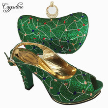 Capputine Gold Color Shoes And Bag Set African Sets Italian Shoes And Bag Set Decorated With Rhinestone Nigerian Shoes BL755C