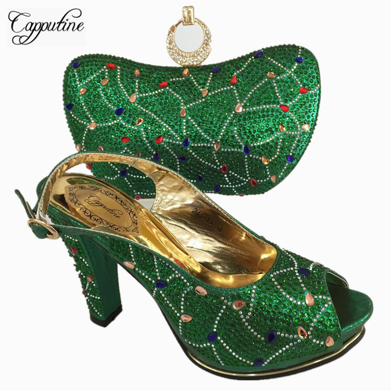 Capputine Gold Color Shoes And Bag Set African Sets Italian Shoes And Bag Set Decorated With Rhinestone Nigerian Shoes BL755C doershow african women talian shoes and bag set ladies italian shoe and bag set decorated with rhinestone nigerian party bb1 1