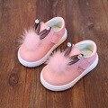(PS) дети Девочка Детки Shoes 2016 Осень Натуральная Кожа Мокасины Противоскользящие Prewalker Кристалл Кролик Малыша Shoes