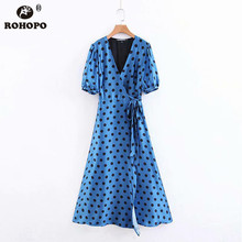 ROHOPO Blue Lantern Short Sleeve Polk Dot Midi Dress Tie Belt Flared V Collar British Tunic Dresses #BM1803