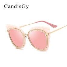 Ojo de gato Rosa de Oro de Gran Tamaño Super Star gafas de Sol de Espejo de Las Mujeres Venta Caliente Plana de Moda Diseñador de la Marca Gafas de Sol de Señora UV400