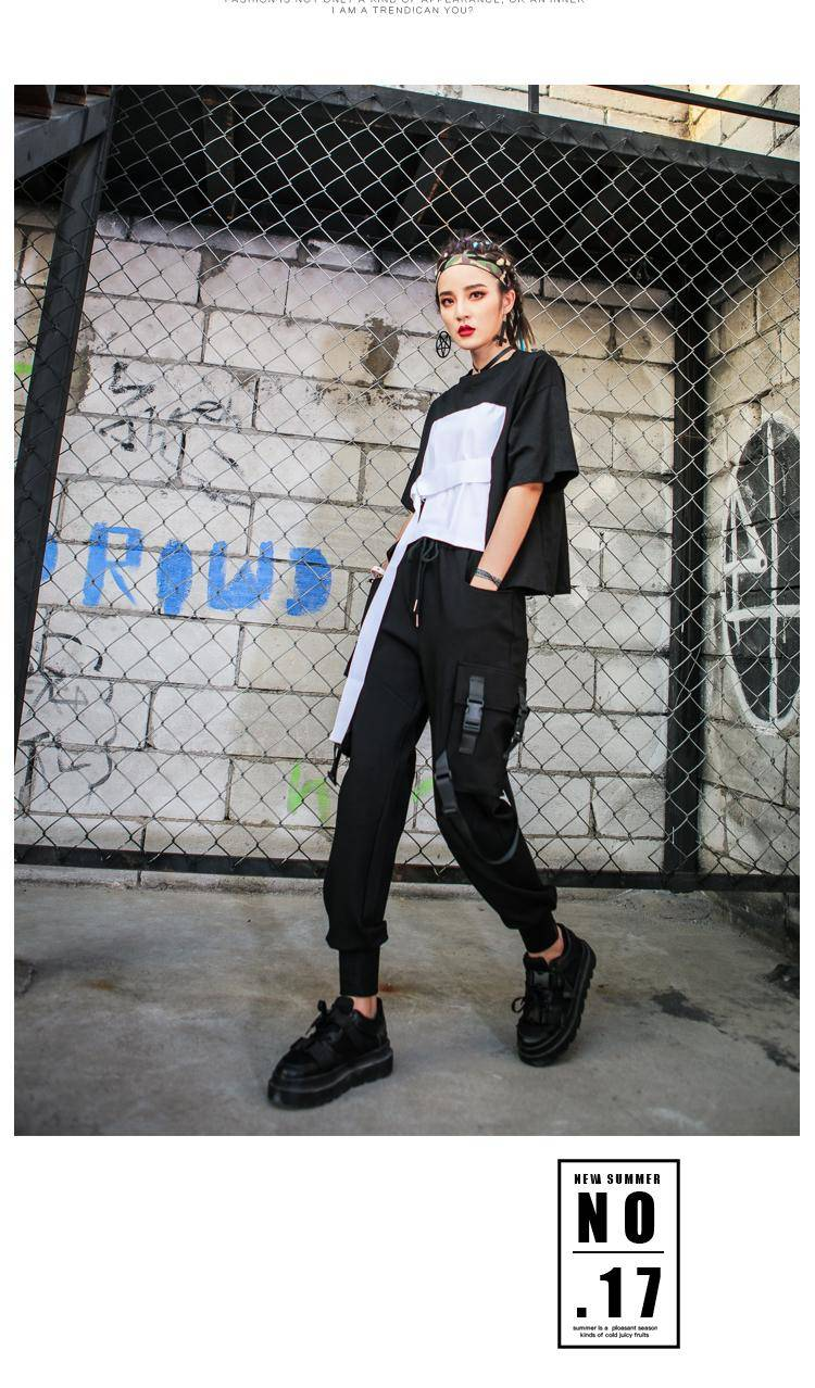 Black High Waist Cargo Pants Women Pockets Patchwork Casual Funny Loose Streetwear Pencil Pants Fashion Hip Hop Women Trousers 1