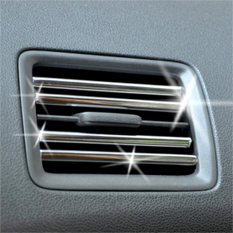 Car Interior Air Conditioner Outlet Decoration Strip, 200cm U Style DIY Vent Grille Chrome Decor Strip Silver Car Accessories