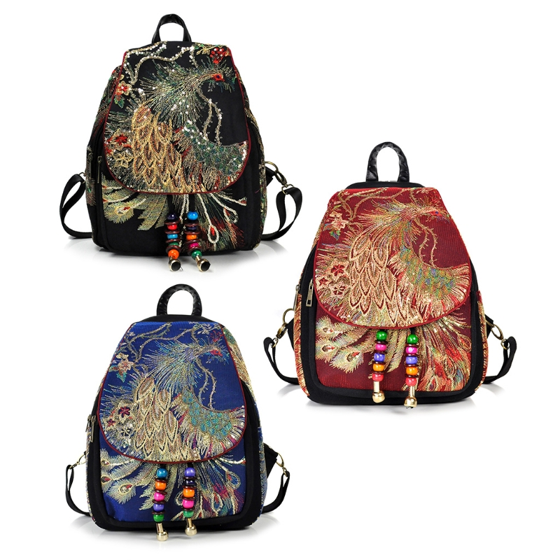Women Phoenix Embroidery Canvas Ethnic Backpack School Backpack Travel Daypack Ethnic phoenix canvas backpack 090401 3 стоимость