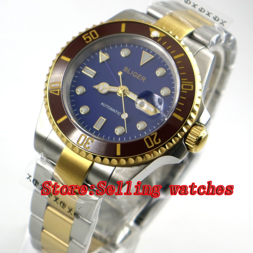 40mm bliger blue dial ceramic bezel golden plated Men's miyota Sapphire glass Automatic movement Watch P088 цена и фото