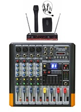 STARAUDIO Pro 4 Channel Mixing Console DJ Audio Powered  Amplifier  Mixer W/2CH VHF Wireless Microphone  SMX-4000B