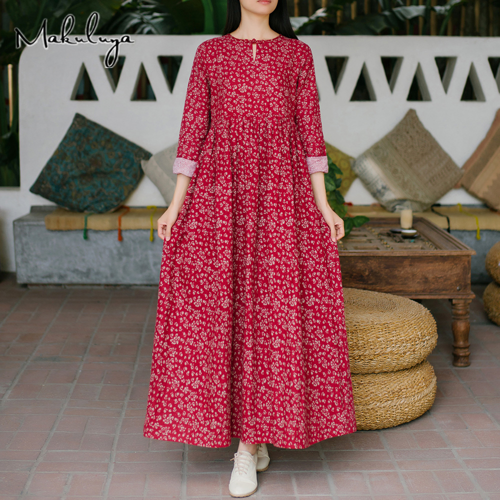 Makuluya Folk Style Vintage Red Floral Women's New Literary Female High Waist Long Sleeve Loose Cotton Dresses Spring Autumn QW
