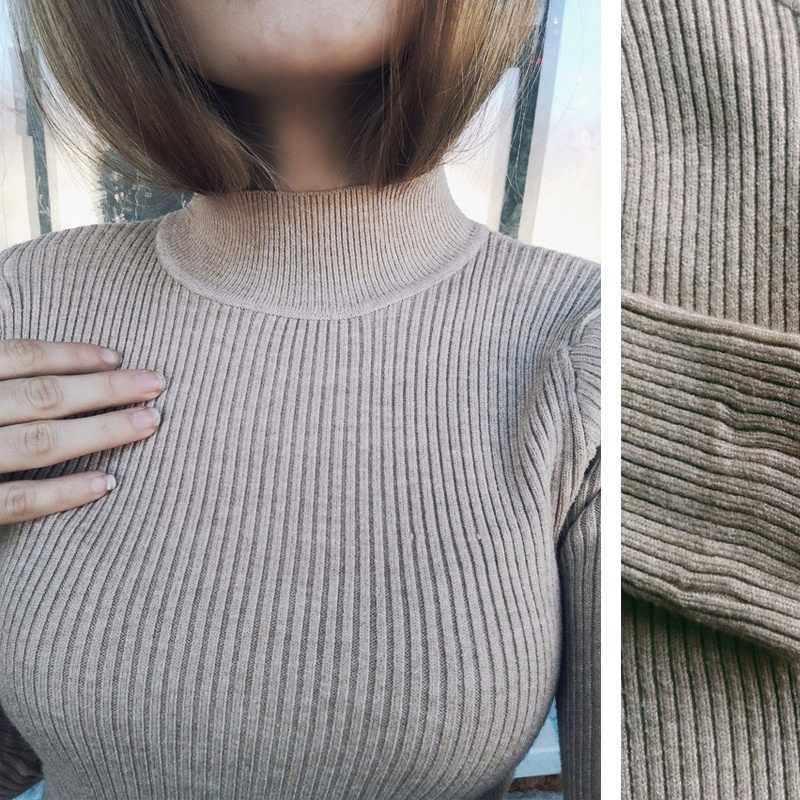 2019 Donne di Inverno di autunno Pullover Maglione Lavorato A Maglia Elasticità Casual Ponticello di Modo Sottile Dolcevita Caldo Femminile Maglie E Maglioni