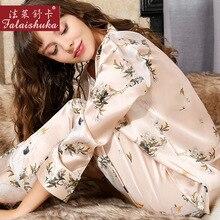 Natural Silk Woman Pajamas Floral Printed Long-Sleeve 100% SILK Sleepwear Female Two-Piece Silkworm Pyjama Sets T8165