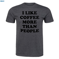 GILDAN I Like Coffee More Than People ADULT SHORT SLEEVE Loose Top Short Sleeve Hipster S