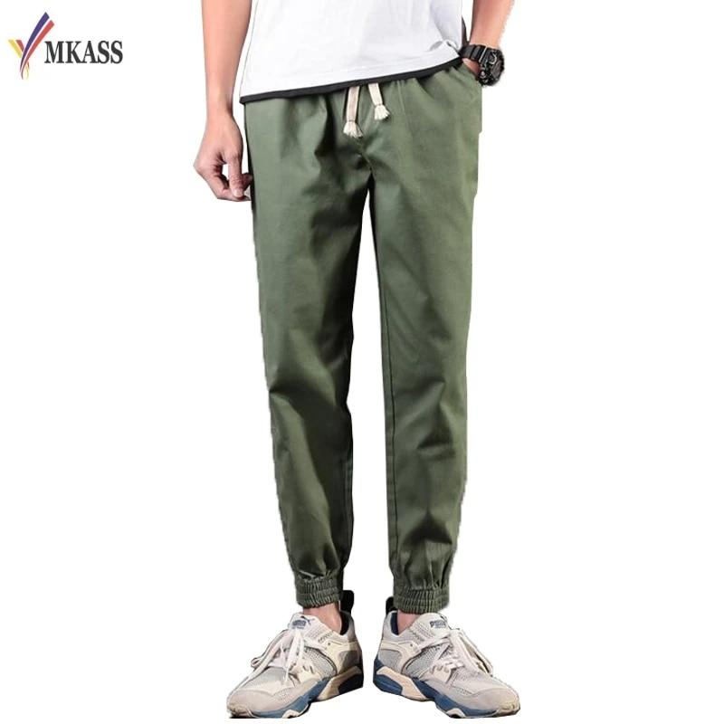 Fall Men Casual Trousers Cotton Linen Pencil Pants Harem Sweatpants Pants