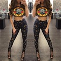 Rock festival Guns and Roses Distressed Bleached Oversized Women Two Piece Set 2017 New Arrive Long Camouflage Pants Short Tops