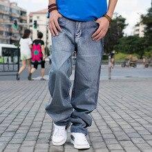 ANBOLUO Autumn Winter Men's Trousers Graffiti Printed Skate Pants Men's Straight Pants Washing cotton Plus Large Men's Jeans 46