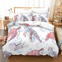 bedding set Deluxe Pink Turtle 3-piece queen king size duvet cover pillowcase kid Comfort Bedding No filler home textile