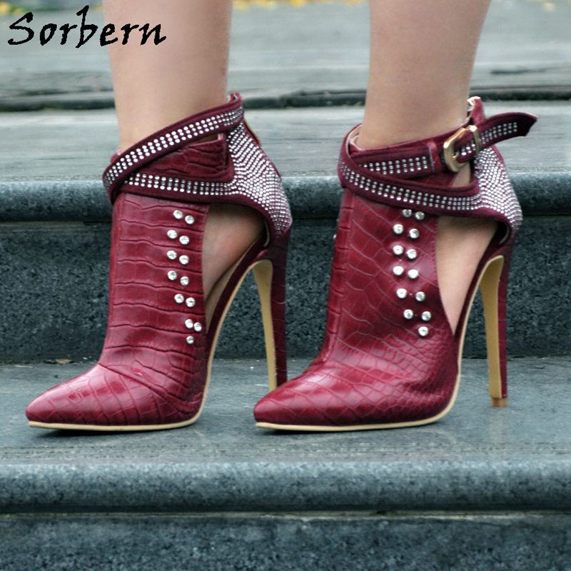 Sorbern Wine Red/Black Studded Ankle Boots Pointed Toe High Heels Boots Women Stilettos Crystals Hollow Out Punk Boots punk style pure color hollow out ring for women