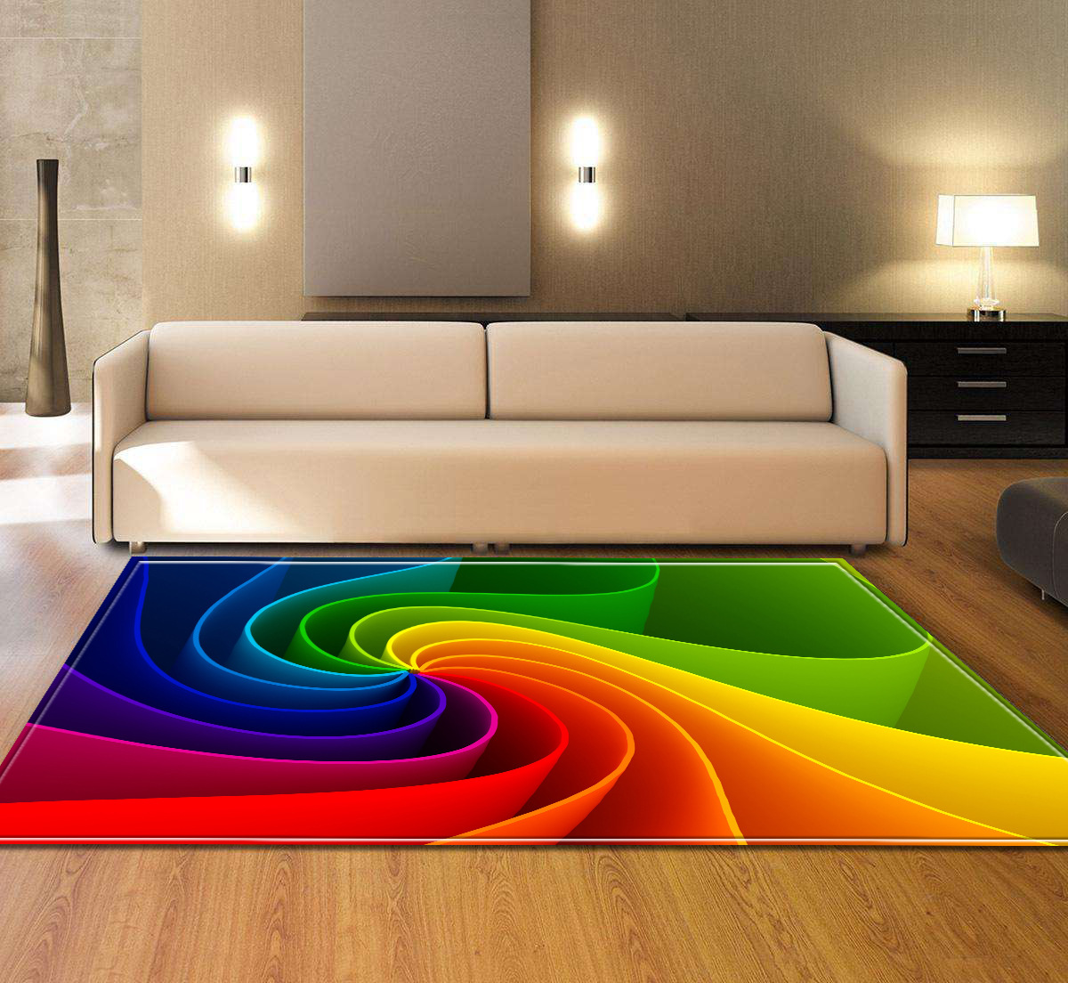 Tapis rayés colorés de modèle pour des tapis de grande taille de salon la mode moderne 3D a imprimé le tapis antidérapant de sofa de table basse de tapis