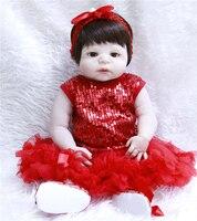 NPK 57CM Real Baby Girl Reborn Doll Full Silicone Child Toddle Bath Toys Lifelike Realistic Babies Red Princess Fashion DOlls