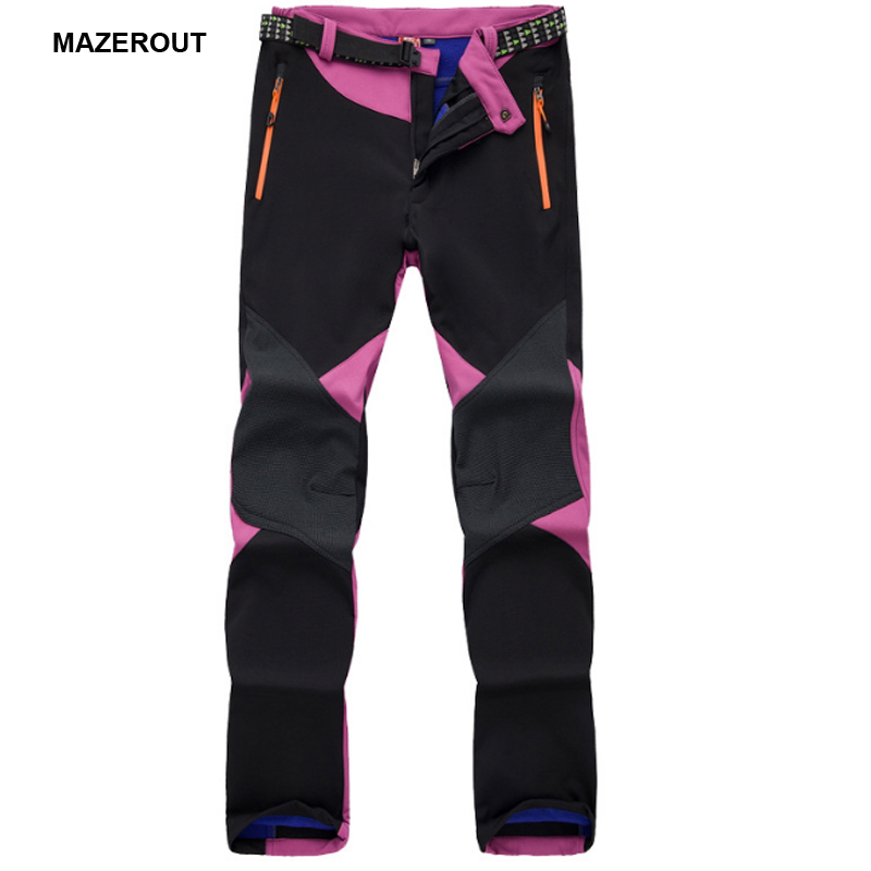 MAZEROUT Woman Winter Trekking outdoor pants waterproof softshell Trousers Women hiking camping Spliced Warm Thermal Clothes P60 drawstring spliced camo jogger pants