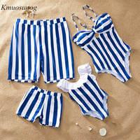 Семейные купальники в синюю полоску; летний купальник; комплект бикини для мамы и дочки; шорты для пляжа; для мальчиков; C0387