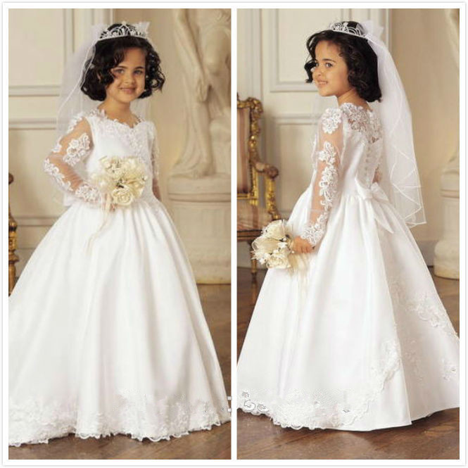 Pretty A-line Prom Gown Appliques Full Sleeves White Flower Girls Dress for Wedding Party First Communion with Cute Bowknot