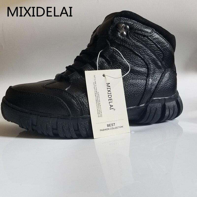MIXIDELAI Super Chaud Hiver Hommes Bottes bottes en cuir véritable Hommes Chaussures D'hiver Hommes Militaire bottes en fourrure Pour chaussures pour hommes Zapatos Hombre - 6