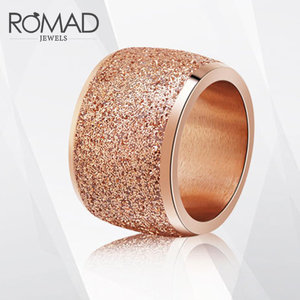ROMAD Queen Silver/Rose Gold Color Stainless Steel Rings 16mm Frosting Surface Big Wedding Band Party Ring for Woman Girls Party