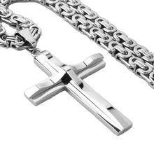 Stylish Silver Color Stainless Steel 6mm Byzantine Link Chain Necklace Cross Pendants Necklaces for Men Fashion Metal Jewelry stylish solid color chain necklace for men