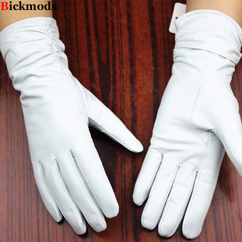 Leather <font><b>gloves</b></font> sheepskin <font><b>gloves</b></font> white female models elastic thin cashmere lining weatherization armband sets free shipping 2016