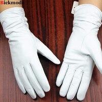 Leather gloves sheepskin gloves white female models elastic thin cashmere lining weatherization armband sets free shipping 2016
