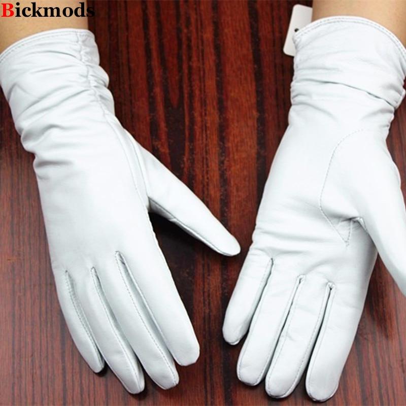 Usnjene rokavice ovčje rokavice bele ženske modele elastične tanke kašmir podloge obloge za zaščito pred usnje brezplačno pošiljanje 2018