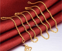 Elegant 24K Yellow Gold Necklace / Carved Women's O Link Chain Necklace/ 2.9g