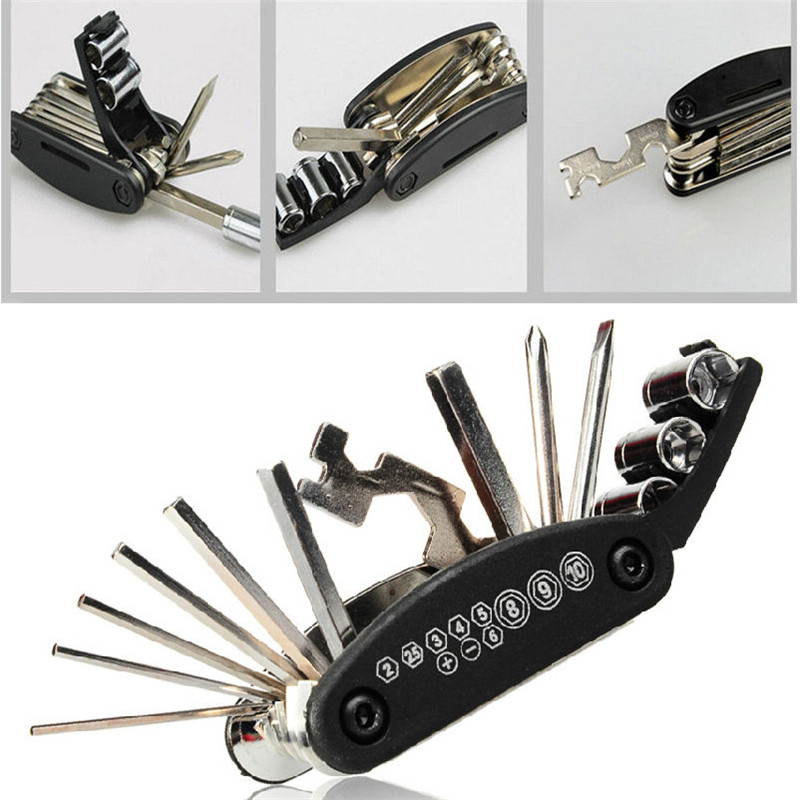 15 In 1 Mutifunction Tools For Bike Bicycle Cycling Or Outdoor Sports Repair Tool Steel Kit Set