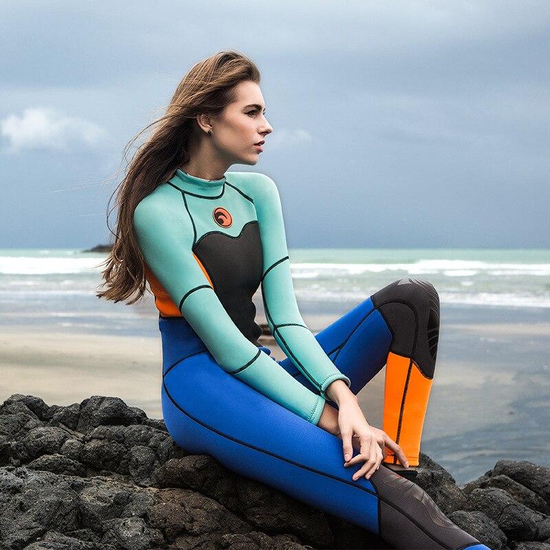 1.5mm néoprène combinaison femmes 2017 Protection solaire extérieure Surf chaud combinaison de plongée femme à manches longues maillot de bain une pièce combinaisons humides - 4