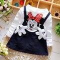 Crianças de natal princesa minnie meninas festa tutu vestido crianças dos desenhos animados infantil vestidos traje da menina do bebê falso duas peças roupas