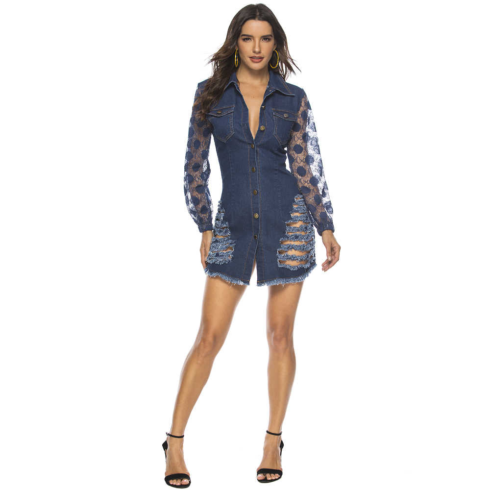 2019 see through bodysuit denim oversized plus size women sexy ripped denim jumpsuit romper hole mesh long sleeve womens autumn