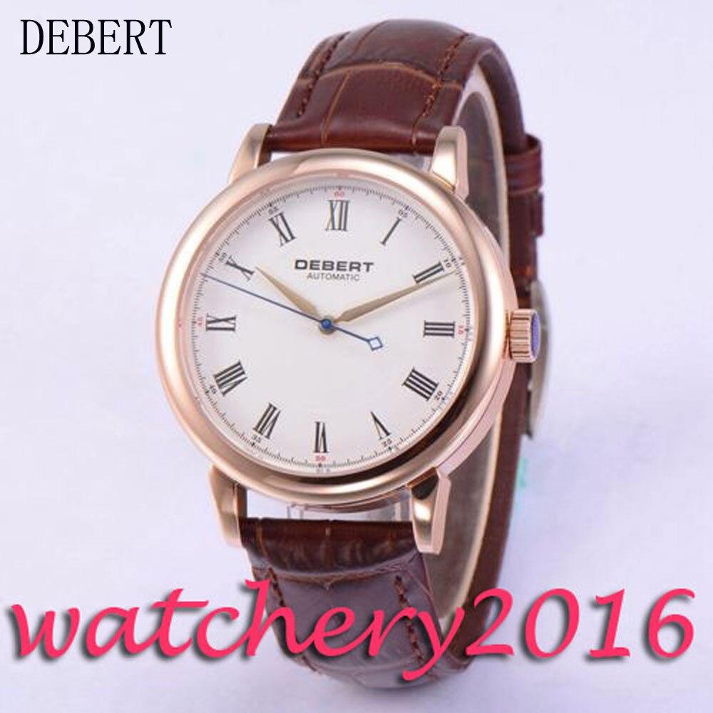 Simple 40mm Debert white dial rose golden case leather strap Automatic movement men s font b