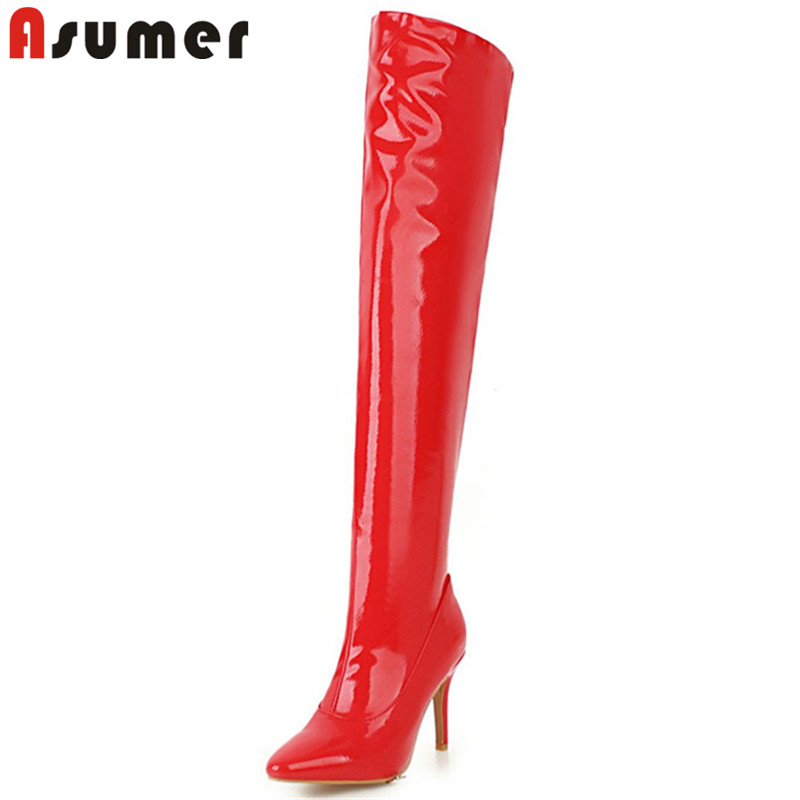 купить ASUMER black red fashion over the knee boots women pointed toe thin high heels ladies boots elegant ladies prom boots plus size недорого