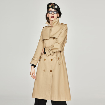 Casual Khaki Women's Trench 2020 Spring Autumn Long Double Breasted Tops Outerwear Pleated Loose Solid Coat Lady Windbreaker