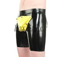 Male Latex Lingerie sexy latex short pants with back hole codepiece pants