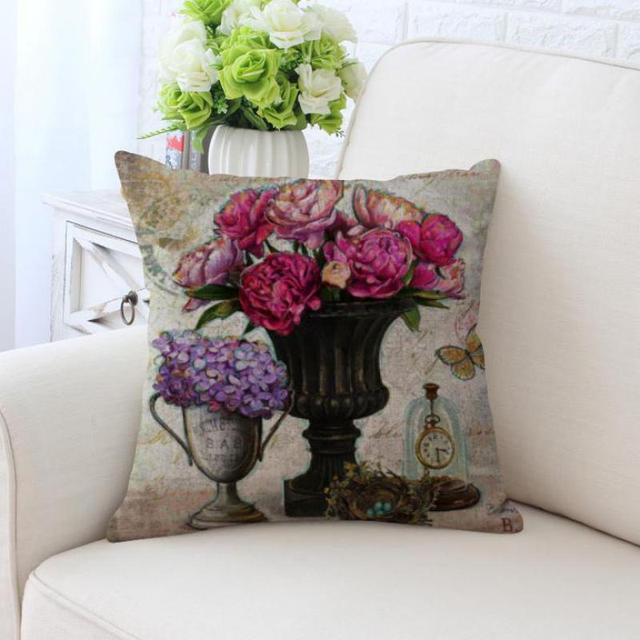 Vintage Flower Decorative Pillow Color Butterfly Rose Flowers ...