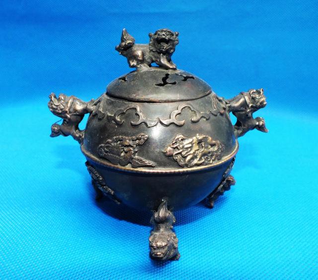 Chinese Bronze Dragon Phoenix Incense Burner Kirin Lid