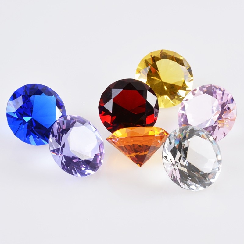 3CM Diameter Quartz Crystal Diamond 3D Glass Beads Ornaments 9 Colors Natural Stone Minerals for Gifts Home Decor Amethyst Stone 8