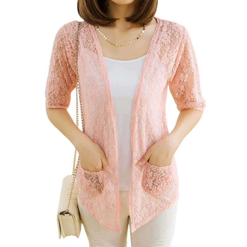 봄 여름 새로운 카디건 여성 느슨한 레이스 중공 스웨터 얇은 니트 코트 에어컨 셔츠 태양 보호 vestidos lxj126