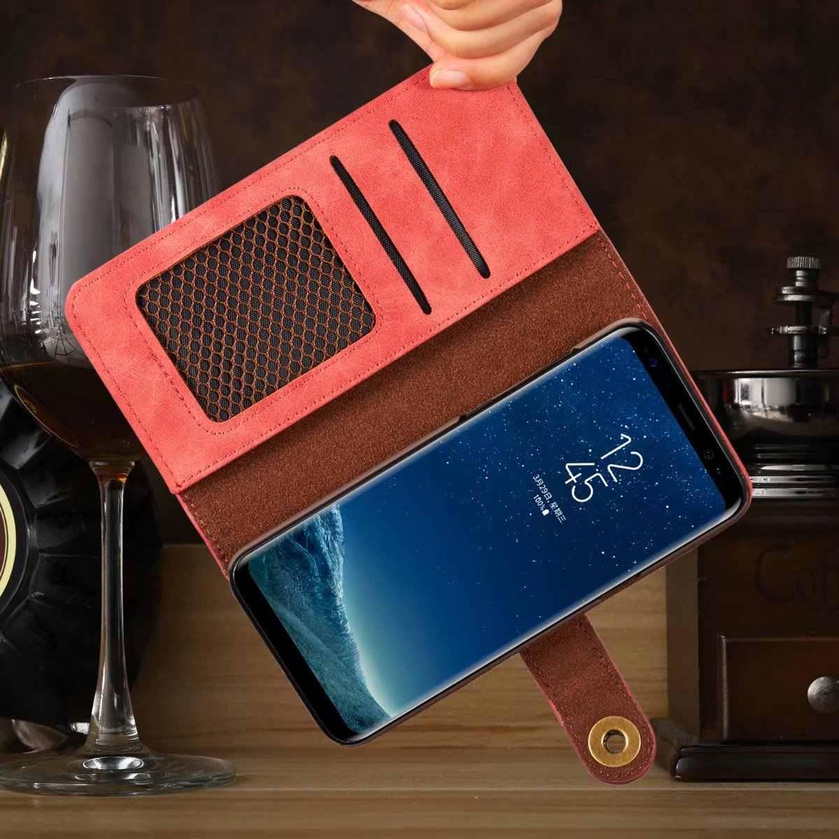 أغطية جلد قابلة للإزالة لهاتف آيفون X XR XS MAX 8 7 6S Plus 5s سامسونج جالاكسي نوت 9 8 S9 S8 Plus S7 Edge محفظة كروت أغلفة