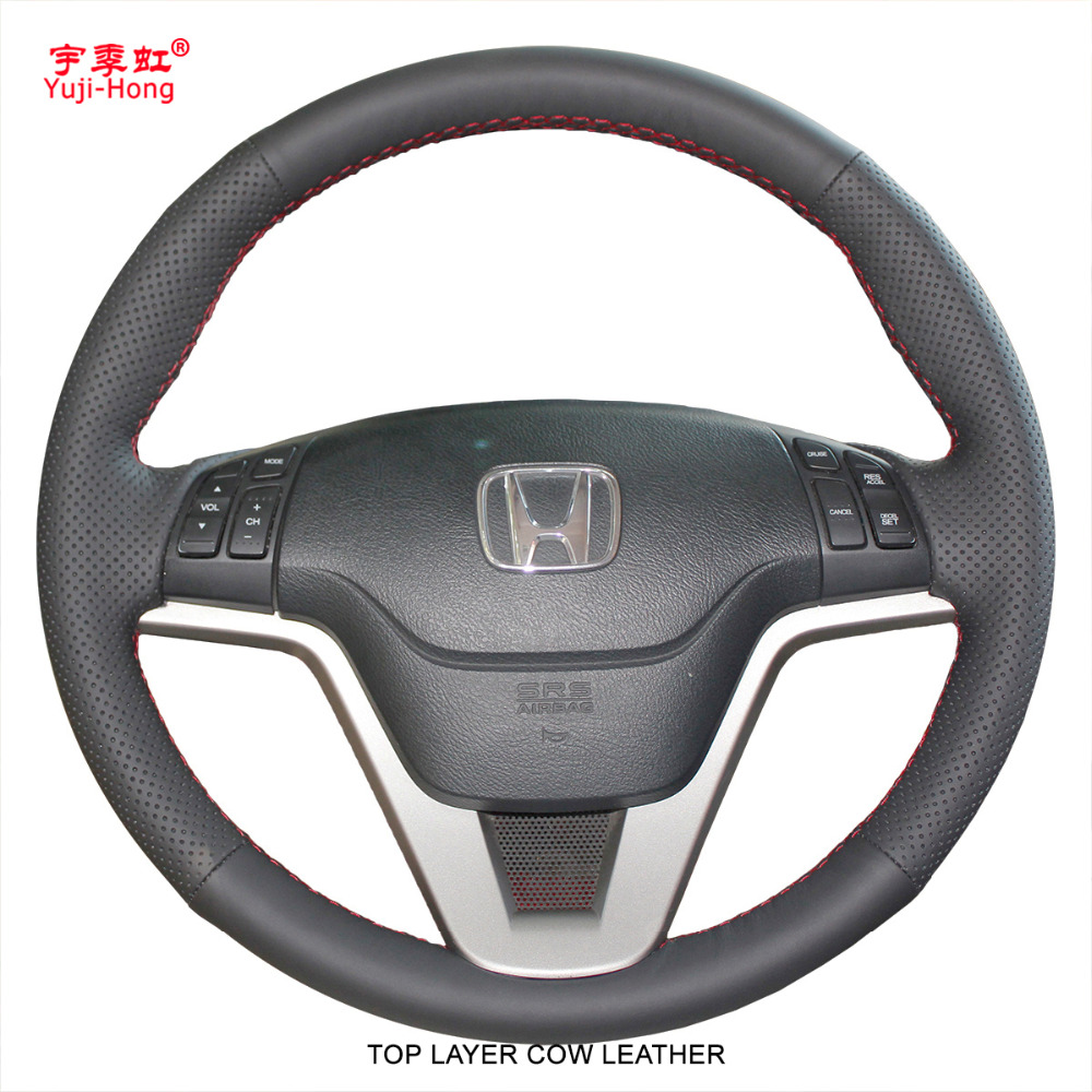 Yuji-Hong Top Layer Genuine Cow Leather Car Steering Wheel Covers Case for Honda CRV 2007-2011 CR-V Auto Hand-stitched Cover auto floor mats for honda cr v crv 2007 2011 foot carpets step mat high quality brand new embroidery leather mats