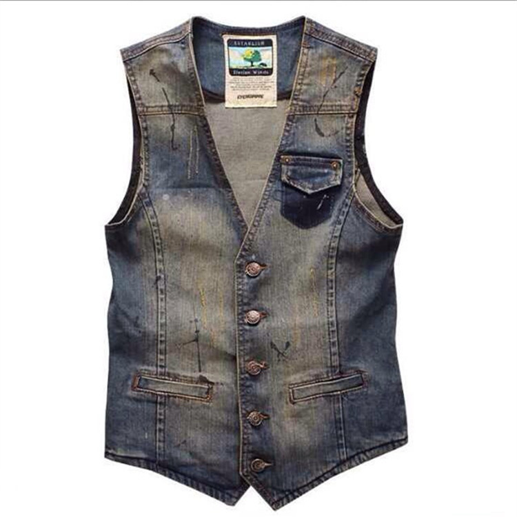 Plus Size Men's Denim Vest Brand Jeans Men Cowboy Vintage Casual Sleeveless Holes Personalized Cardigan Men Jacket&Overcoat 3XL
