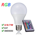 New Arrival E27 RGB LED Lamp Light  110V 220V RGB LED Bulb 3W 5W 7W  With IR Remote Controller Enegry Saving Lampara A65 A70 A80
